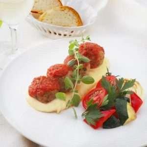 GELIDA 魚のつみれ仕立てトマト煮込み & 自家製クリーミーマッシュポテト